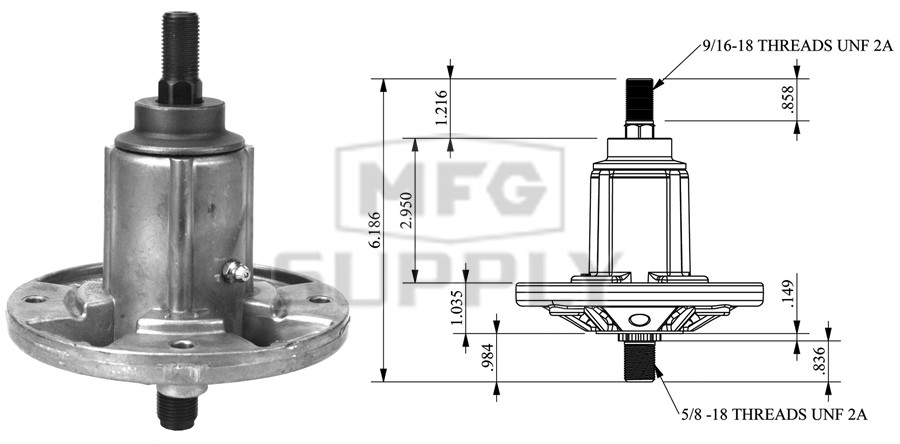"""Spindle Assembly Replacement for John Deere GY21099 GY20867 GY20592 54/"""" Decks"""