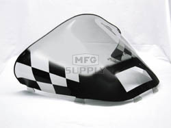 479-472-60 - Ski-Doo med-low Black Checkerboard on Smoke Windshield. S-2000 Chassis with Lampbase Pod.