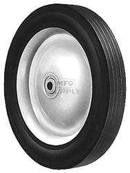 """6-285 - 10"""" X 1.75"""" Steel Wheel with 1/2"""" ID Ball Bearing (Rib Tread)"""