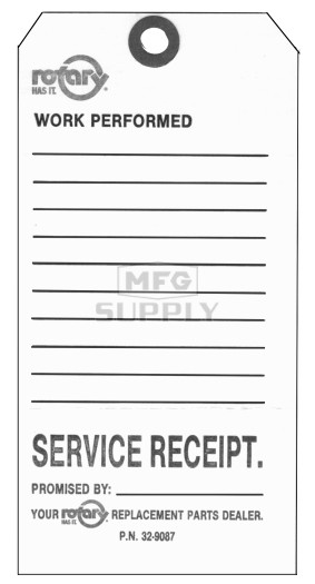 "32-9087 - 3-1/4"" X 6-1/4"" Service Repair Tags (Pkg Of 100)"