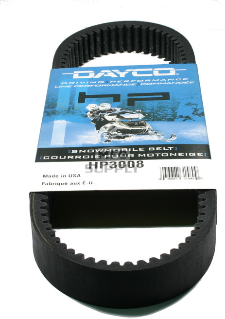 HP3008 - Arctic Cat Dayco HP (High Performance) Belt. Fits many lower power 90-96 Arctic Cat Snowmobiles. Also fits some older 70's sleds.