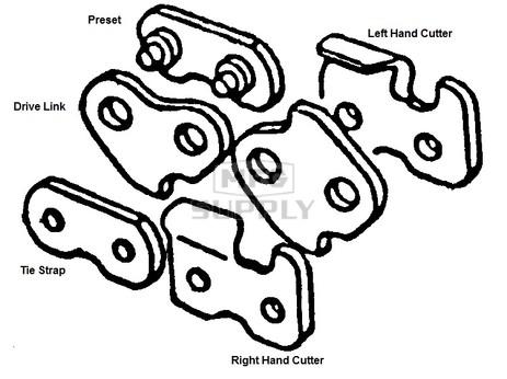 """75LG-CTRRH - Oregon: 75LG Right Hand Cutter. 3/8"""" pitch, 063 gauge"""