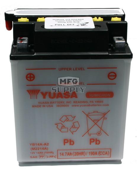 YB14A-A2  Yuasa Powersports Battery (Dry)
