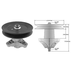 """10-13131 - Spindle Assembly for Cub Cadet model LT series, 42"""" Decks w/Star Hole Blades"""