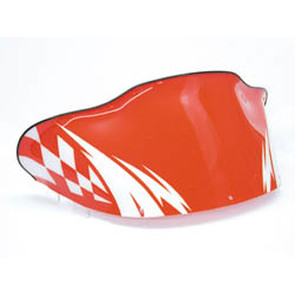 479-213-25 - Polaris Generation II Med-Low Flared Windshield Red with White Checker & Lightening Bolt