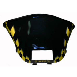 479-472-57 - Ski-Doo med-low Yellow Checkerboard on Black Windshield. S-2000 Chassis with Lampbase Pod.