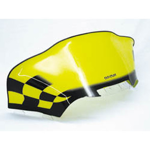 479-479-77 - Ski-Doo Med-Low Flared Black Checkerboard on Yellow Windshield for ZX Chassis.