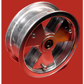 "AZ1152 - 8"" Aluminum Tri-Star wheel, 3-9/16"" wide, 5/8"" ID Bearing"