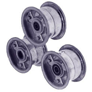 "AZ1137 - 5"" Aluminum Wheel, 3"" wide, 3/4"" ID Tapered Bearing"