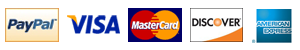 We Accept: PayPal, Visa, Mastercard, Discover, and American Express